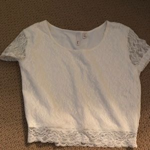 White Nordstrom lace crop top